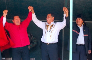 Happier times: Hugo Chavez, Rafael Correa and Evo Morales.  EPA/Jose Jacoma